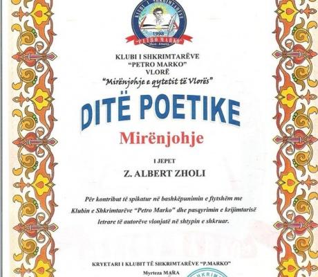 """Klubi i Shkrimtarëve """"PETRO MARKO"""" Vlorë nderon shkrimtarin Albert Zholi"""